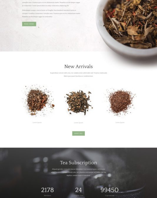 Website template: Tea Shop